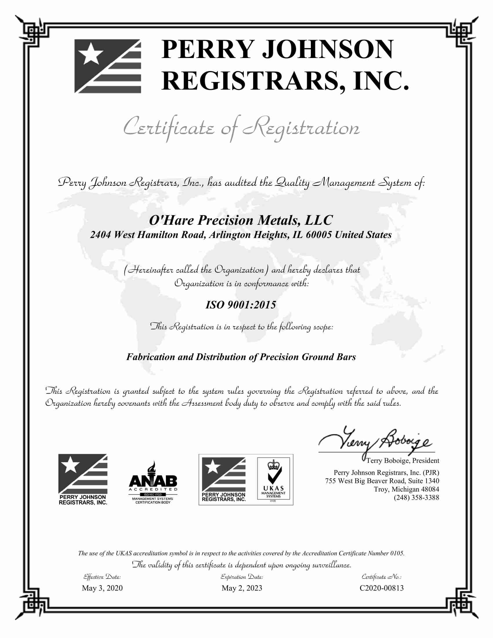 O'Hare Precision Metals, LLC Final Cert 2020